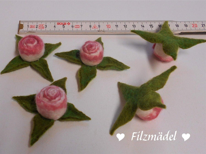 Rosen 3er oder 5er Set altrosa Filzbl/üten wei/ß einzeln handgefilzt