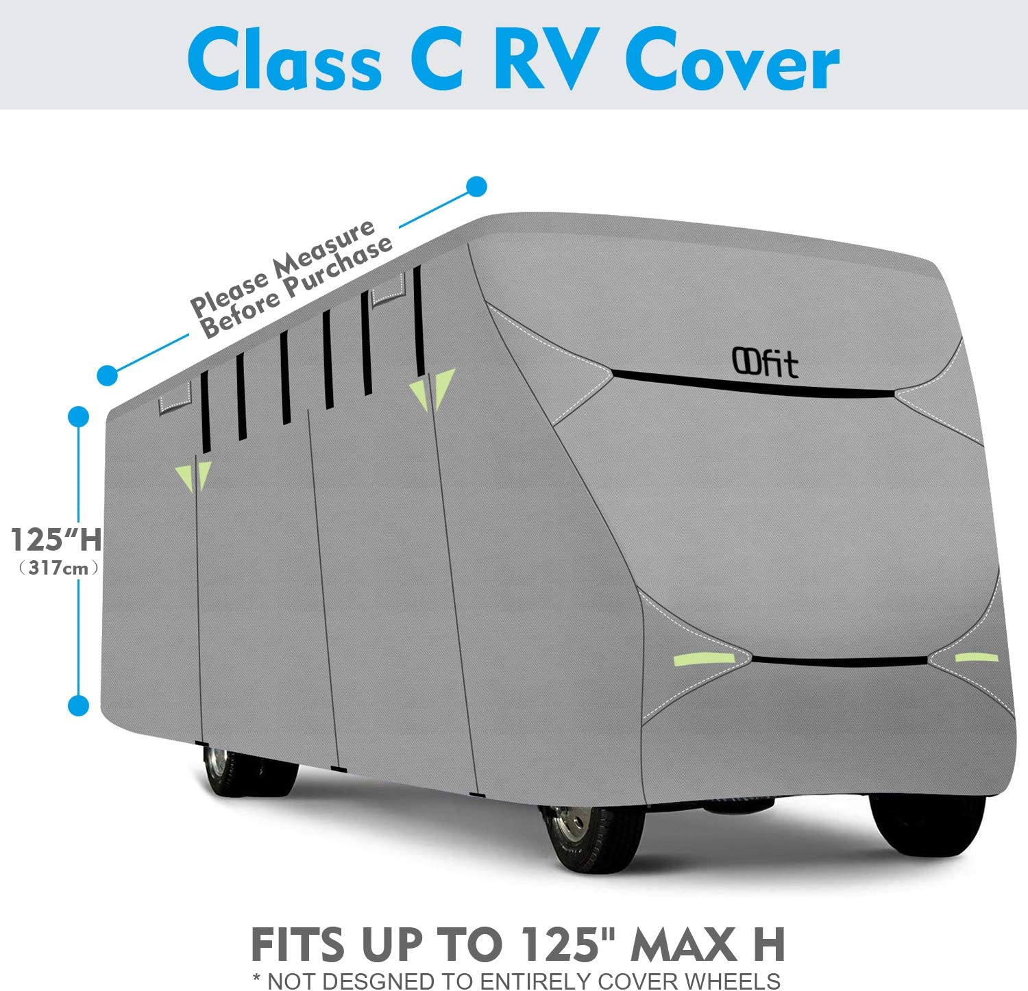 Fits 29-32 RVs Entrance Zippers /& Storage Bag OOFIT Extra-Thick 4-ply Class C Motorhome RV Cover Breathable Weather-Proof Anti-UV Motorhome Cover with Adhesive Repair Patch