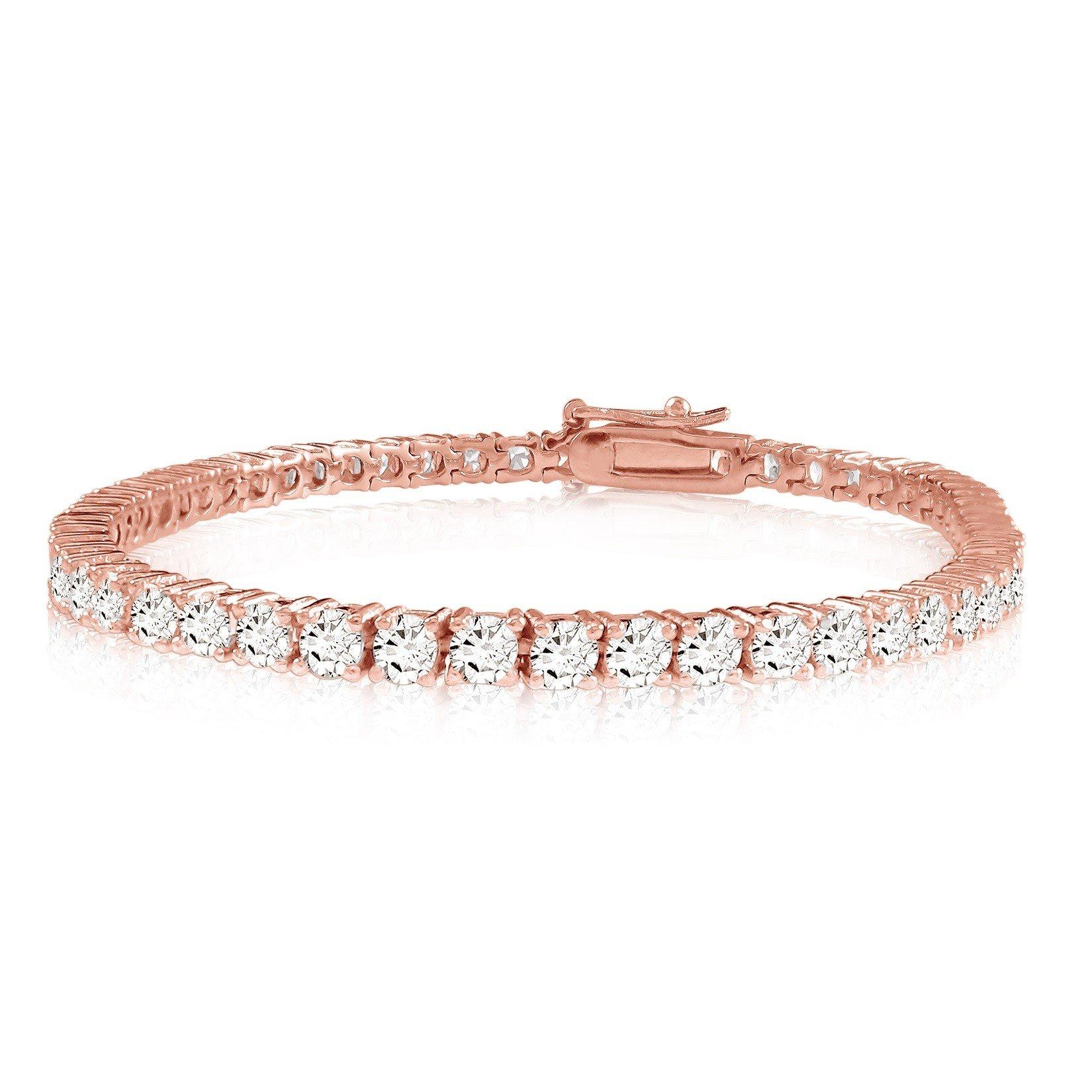 5 Carat Classic Diamond Tennis Bracelet 14K Rose Gold Value Collection by Diamond Manufacturers USA