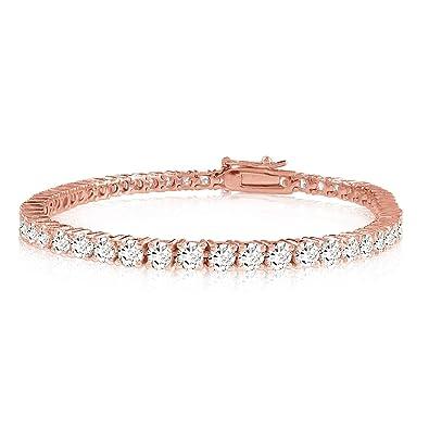 5ea122b93fe Amazon.com  10 Carat Classic Diamond Tennis Bracelet 14K Rose Gold Value  Collection  Jewelry