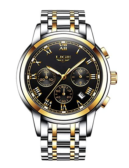 Lige relojes para hombres, 2018 New Luxury Business Sports impermeable de acero inoxidable con lujo