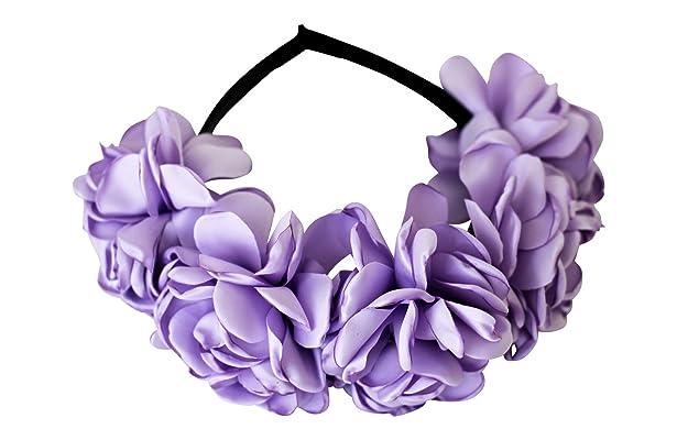 High Quality Lavender Satin Rose Petal Flower Crown Headband for Girls