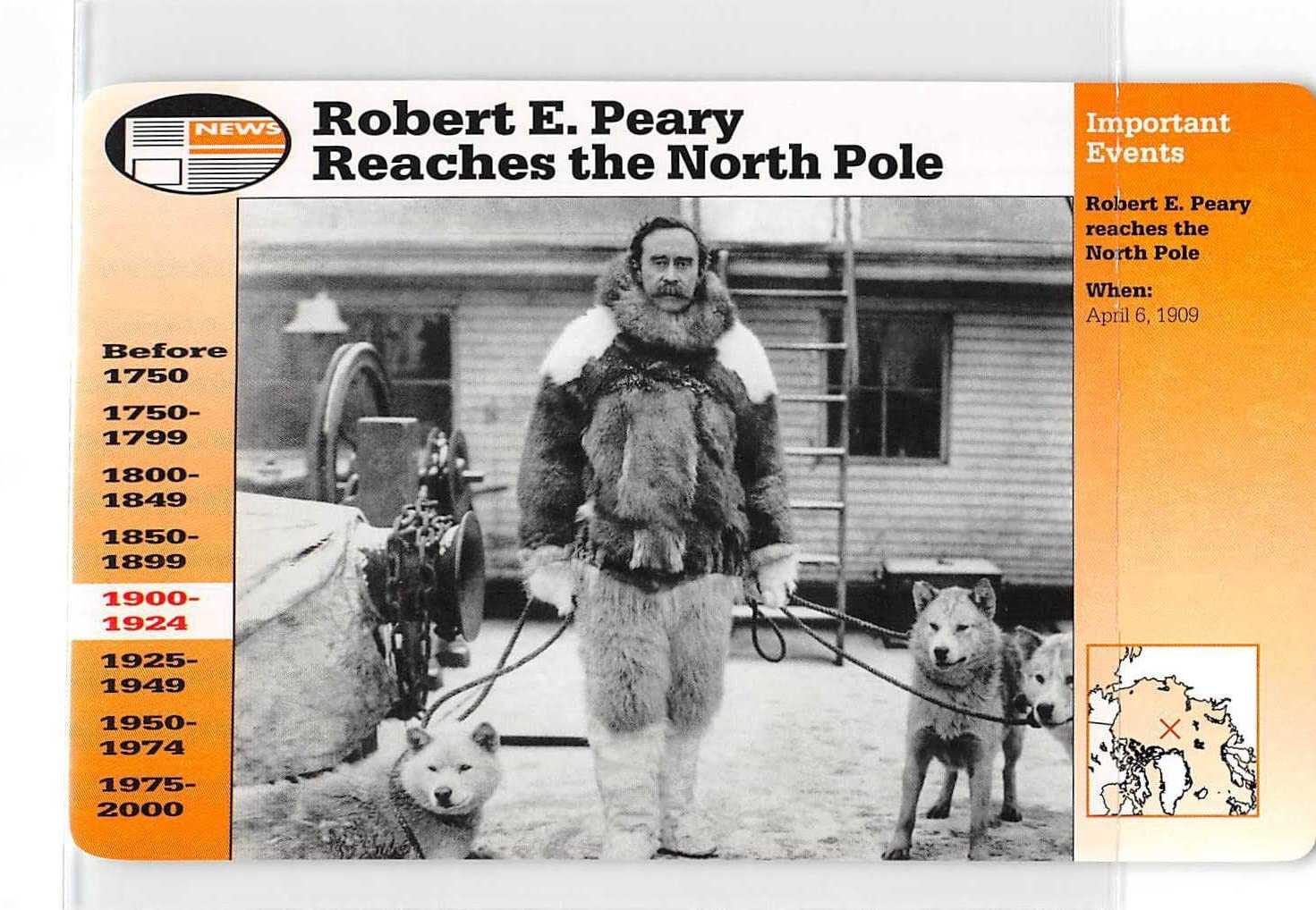 Robert E. Peary Reaches North Pole 1995 Grolier Story of America Card #6-15 (NM-MT)