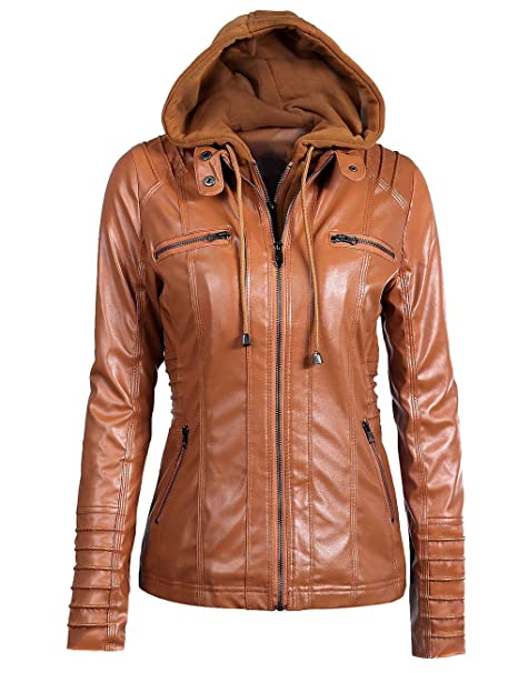 Sexyshine Womens Zipper Up Removable Hooded Faux Leather Jacket Biker Bomber Classic Vintage Winter Overcoat Outwear