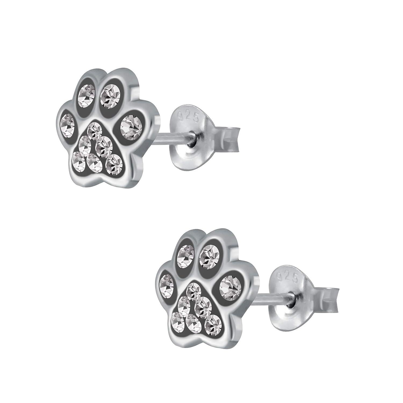 con brillantini 7 mm Orecchini per bambine e bambine motivo zampa e zampe in argento Sterling 925 Laimons