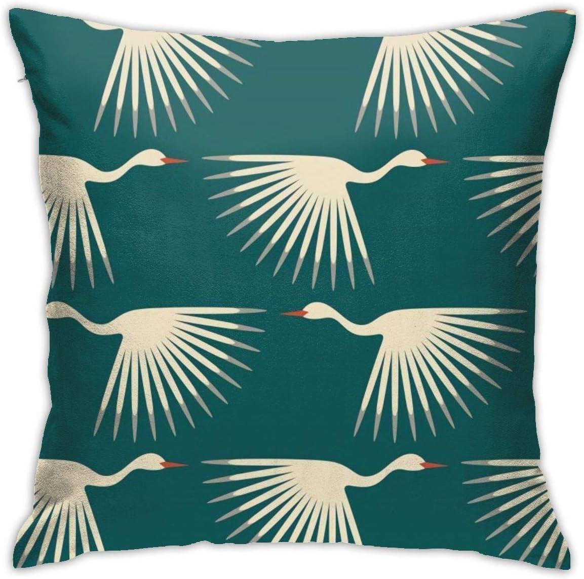 Antvinoler Art Deco Cranes Throw Pillow Case Soft Pillow Case For Decorative Bedroom Livingroom Sofa Farm House Cushion Covers Couch Pillow 18x18 Inch 45x45 Cm Home Kitchen
