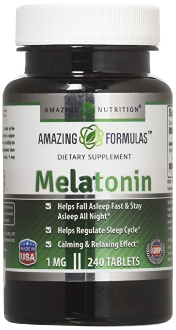 Amazing Nutrition Melatonin – 1 Mg Tablets - Best Choice of Natural Sleep Aid Supplement –