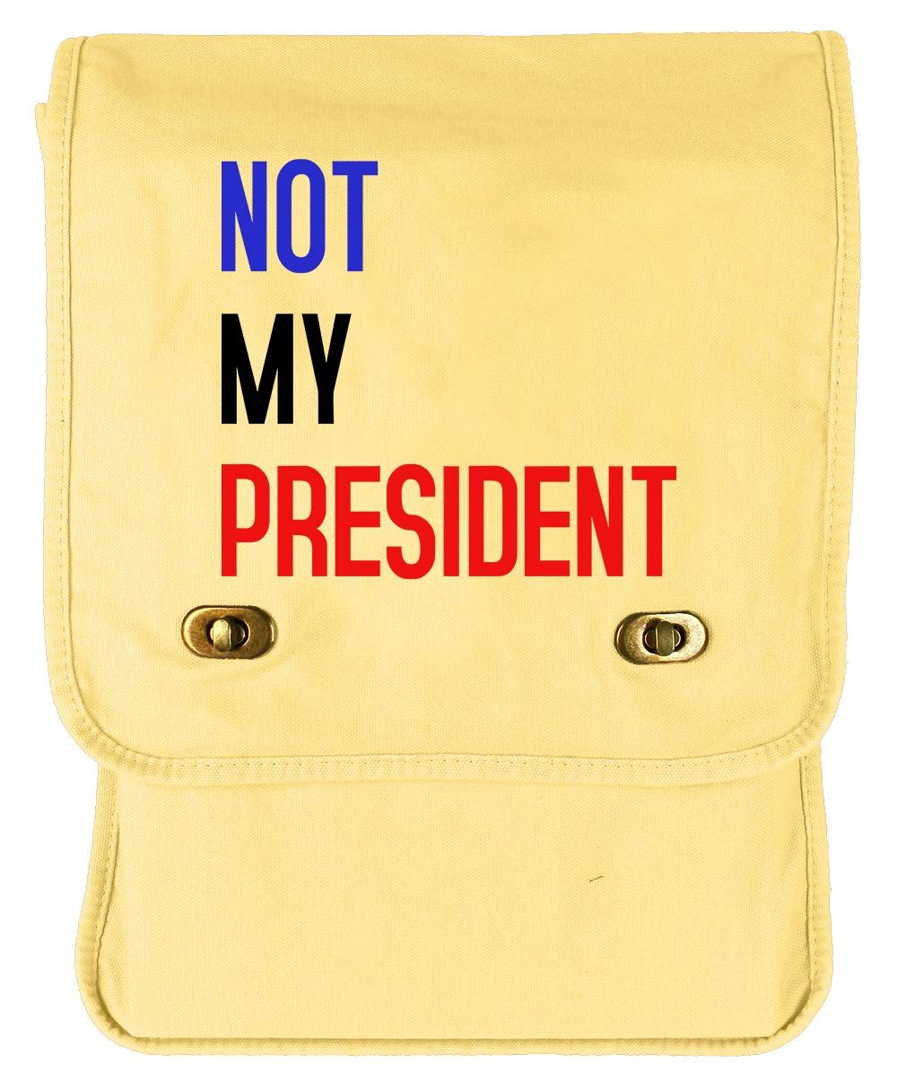 Tenacitee Not My President Khaki Green Raw Edge Canvas Messenger Bag