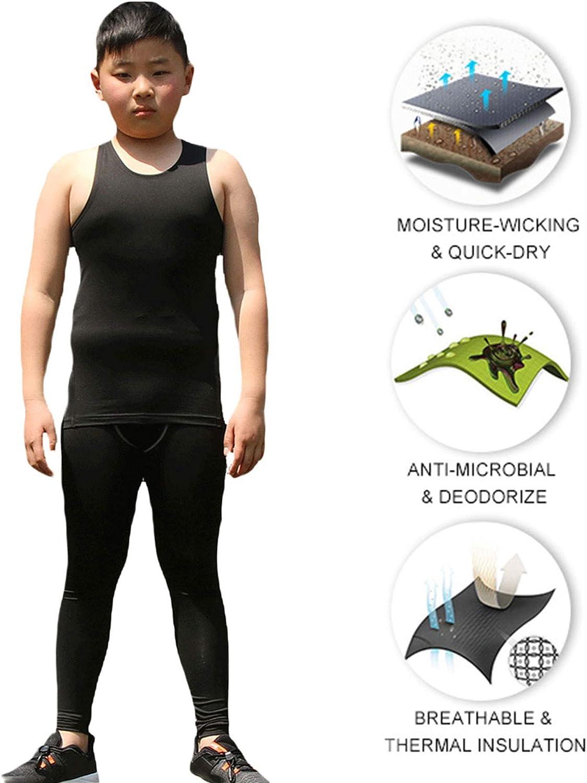 LANBAOSI 3 Pack Kids Sleeveless Compression Top Boys Wicking Football Training Tank Top Vest Undershirts Age 5-13 Years