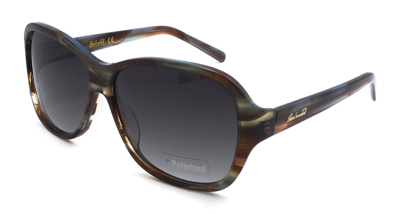 da3f89b918 Amazon.com  SunCristal Simple Design Acetate Lady Luxury Color Polarized  Gradient Lens Sunglasses 1103 C2 (Brown Blue stripe