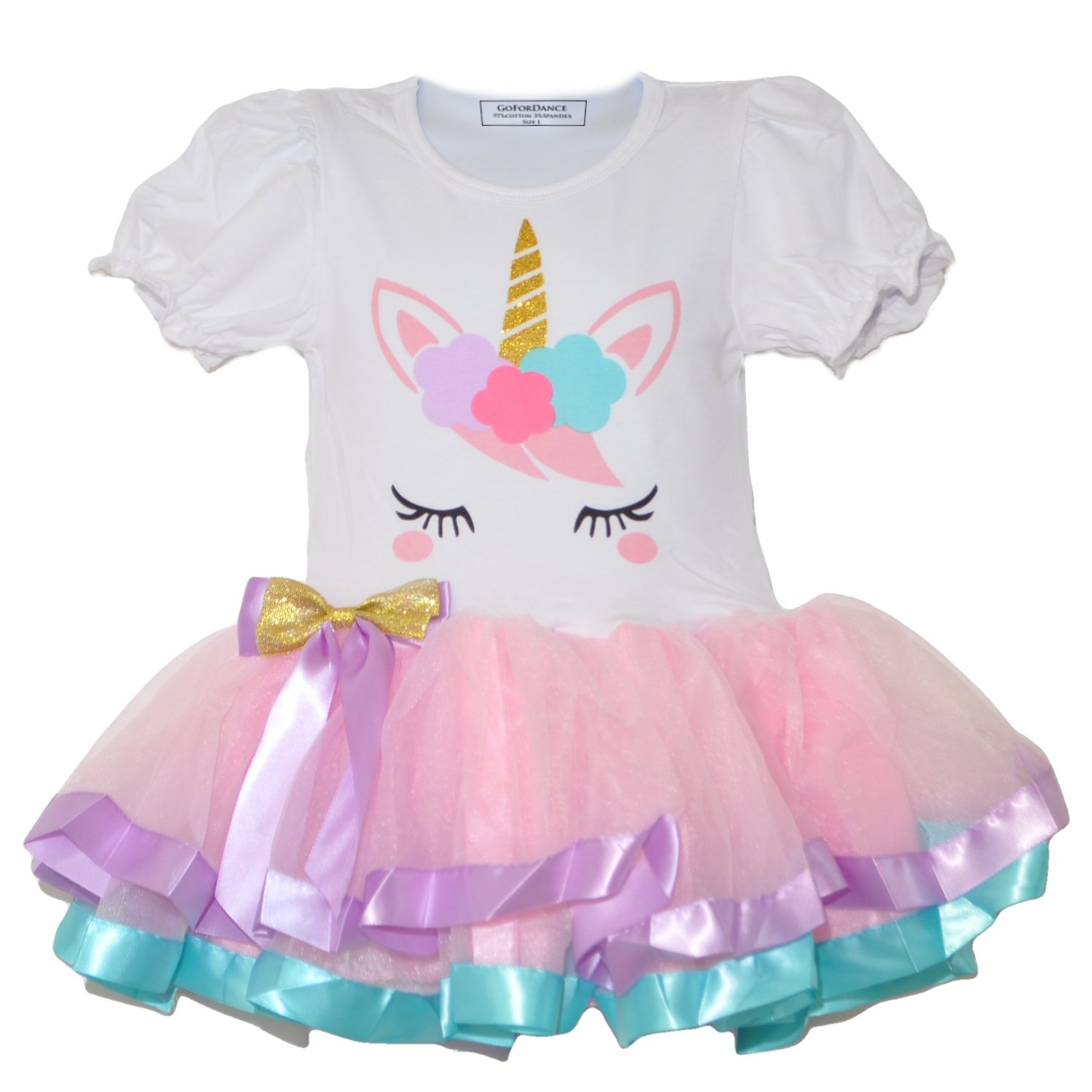 GoForDance Unicorn Puff Short Sleeve 3 Layers Tulle Tutu Ribbon Trim Girl's Party Dress (Small, Pink)