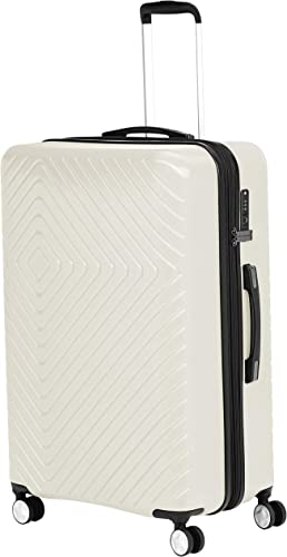 AmazonBasics Geometric Travel Luggage Expandable Suitcase Spinner with Wheels and Built-In TSA Lock, 31.3-Inch – Cream