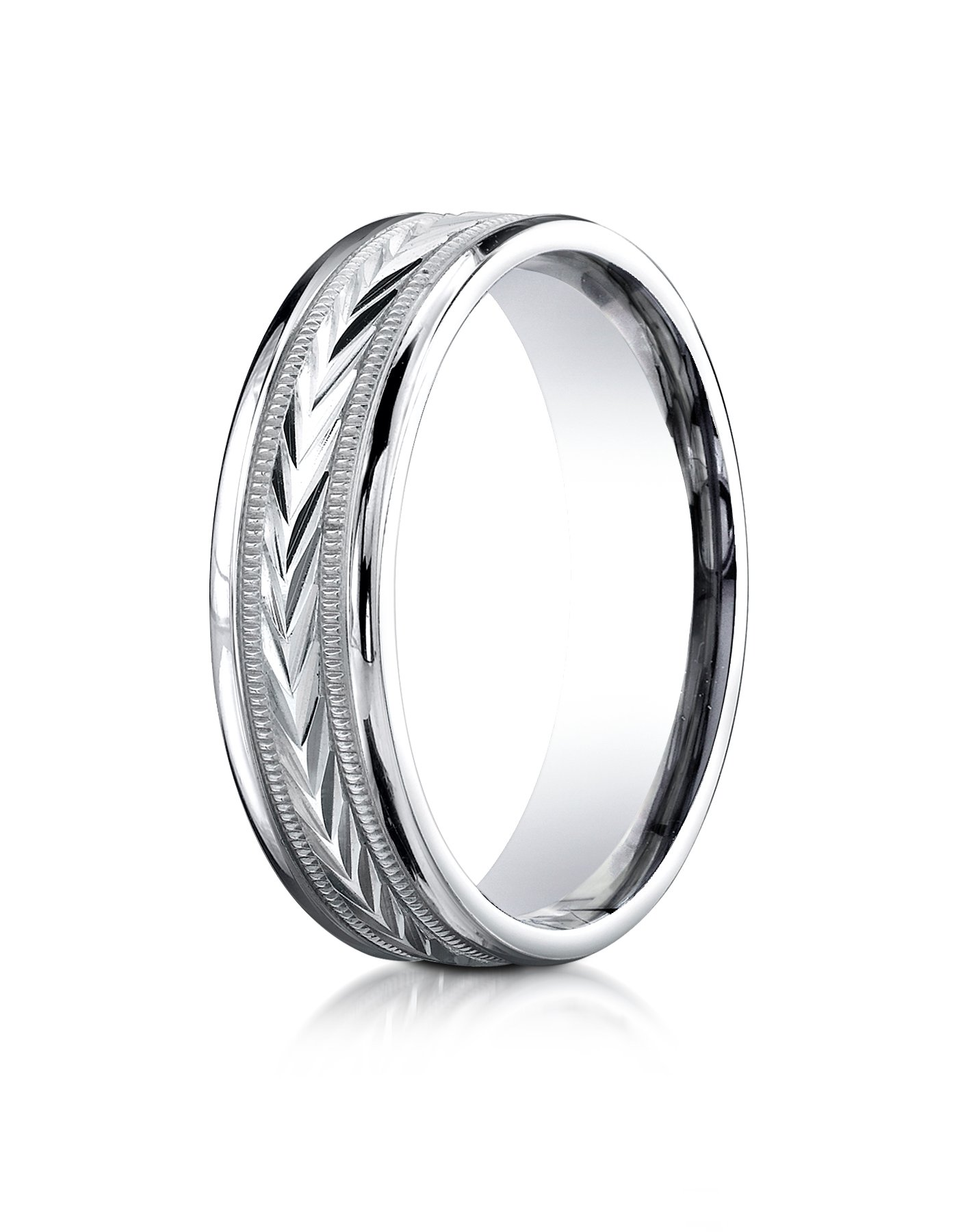 14k White Gold 6mm Comfort-Fit Harvest of Love Round Edge Carved Design Wedding Band Ring for Men & Women Size 4 to 15
