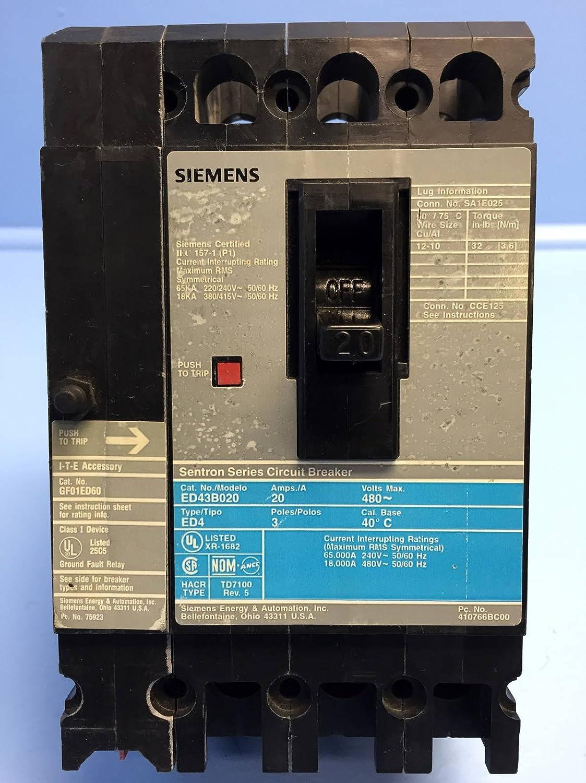 Siemens I-T-E ED43B020 20 Amp Circuit Breaker 480V Ground GF01ED60 ...