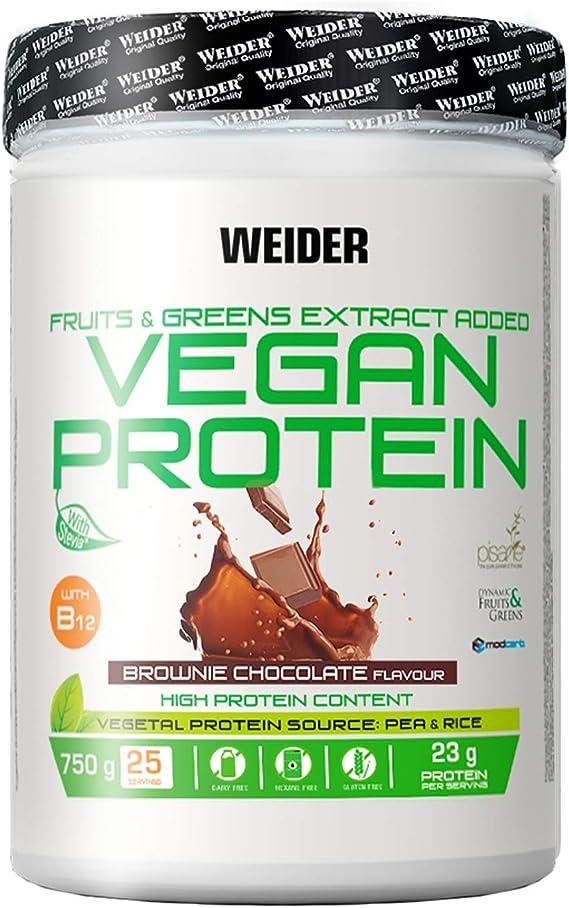 Weider Vegan Protein. Brownie-Geschmack. 100% pflanzliches Erbsenprotein (PISANE) und Reis. Gluten-frei. Laktosefrei. Kein Palmöl. Mit Vitamin B12 ...