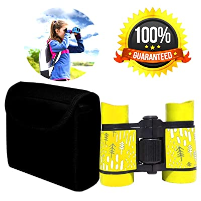 Kid Binoculars Shock Proof Toy Binoculars Set - Bird Watching - Educational Learning - Presents for Kids - Children Gifts - Boys and Girls - Outdoor Play - Hunting - Hiking - Camping Gear (Yellow01): Toys & Games