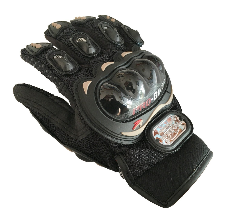 Guantes cortos de piel para motocicleta para deportes de carreras Pro Biker