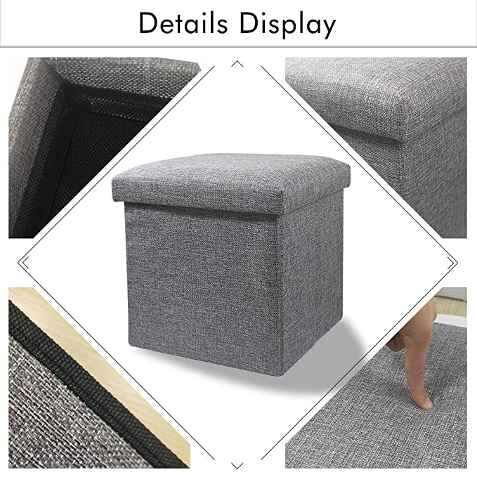 ASUVI Cube Shape Storage Chair Foot Rest Ottoman Bench Solution Stool for Home Storage Organization with Cushion Seat Lid (1 Pack)