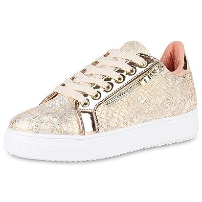 SCARPE VITA Damen Plateau Sneaker Lack Zipper: