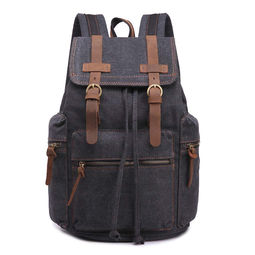 Black Backpack, VIccoo Vintage Canvas Backpack Men School Travel Rucksack Laptop Satchel Shoulder Bag Daypack Black