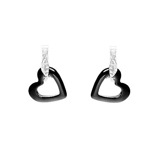 46b0750e0bee Aretes para mujer de Stella Maris - En forma de corazón - Plata Sterling 925  y cerámica negra Premium - Diamante - 1.5 cm - STMJ6-160b  Amazon.es   Joyería