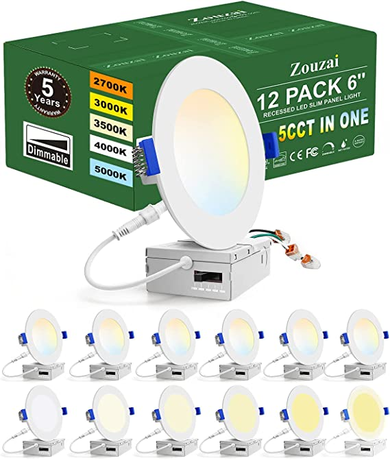 Zouzai 12 Pack 6 Inch 5CCT Ultra-Thin LED Recessed Ceiling Light with Junction Box, 2700K-5000K Selectable, dimmable led Downlight,13W Eqv 120W, led can Lights- ETL