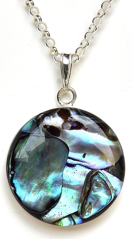 Kathy Sass Paua Pendant (abalone) 25 mm round