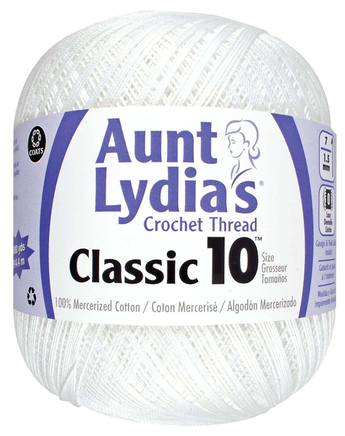 Aunt Lydia Value Crochet Cotton, White 151.0201