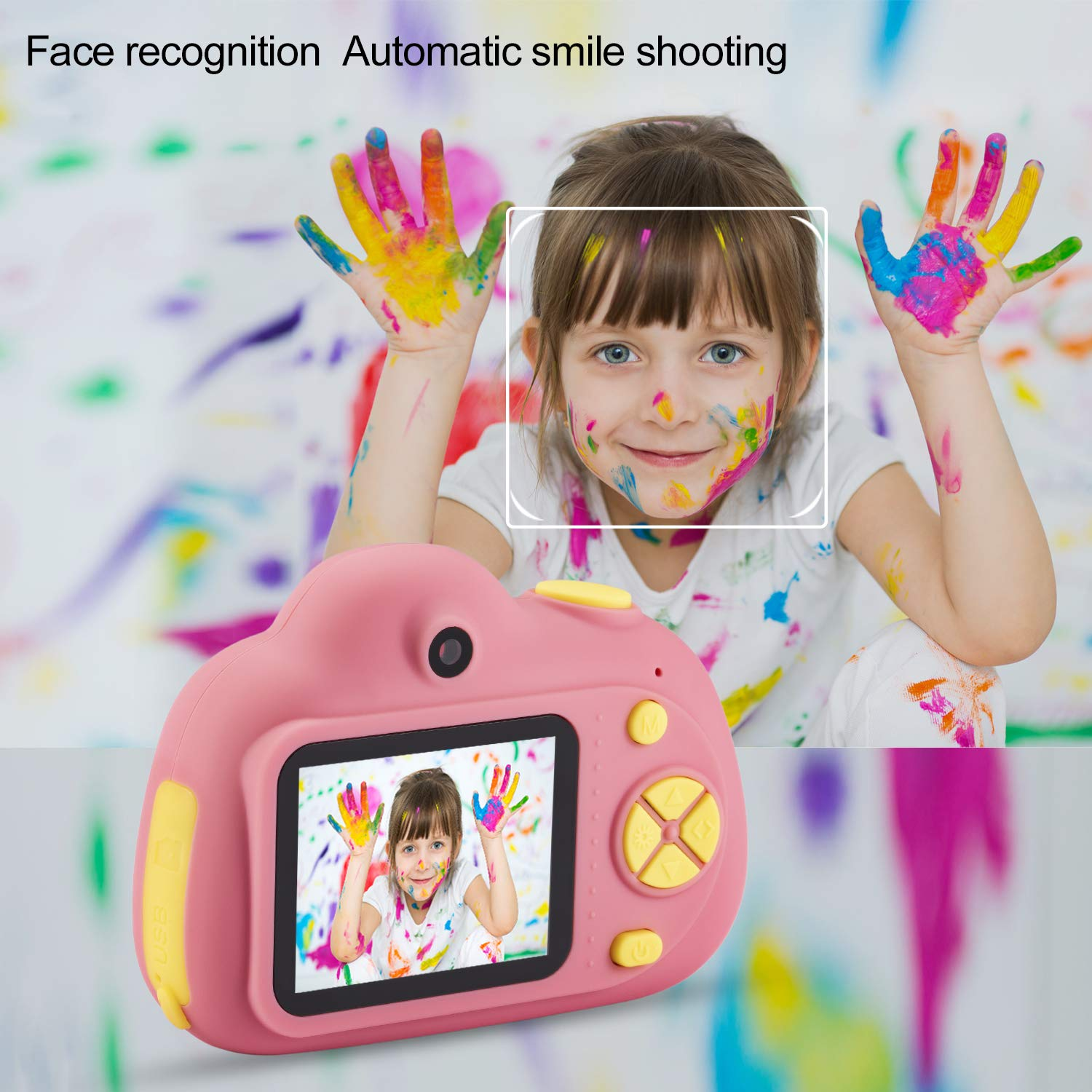 omzer Gift Kids Camera Toys for Girls, Cute Children Cameras Mini Camcorder for 3-8 Years Old Girl with 8MP HD Video Lens Great for Shooting, Deep Pink(16GB Memory Card Included) by omzer (Image #4)