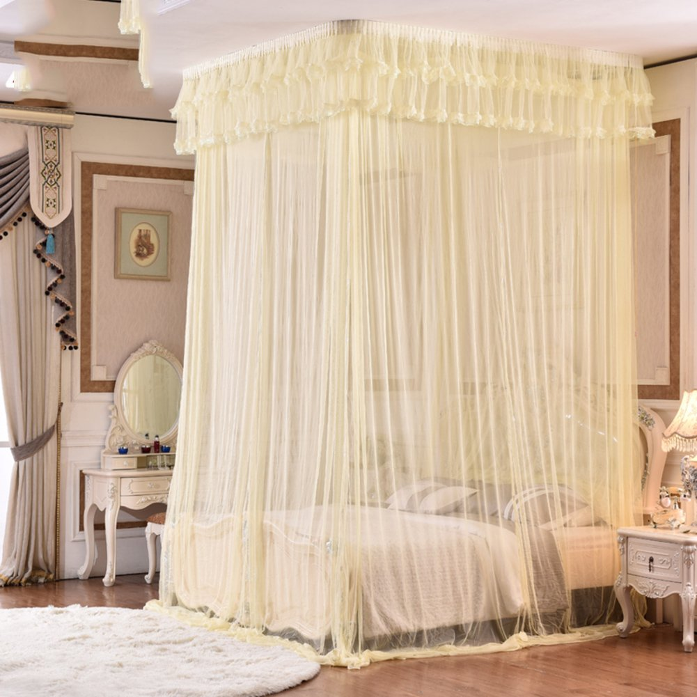 DE&QW Ceiling court mosquito net bed canopy, 1.5m bed 1.8m2m bed Three-door Princess mosquito curtain-B Queen2