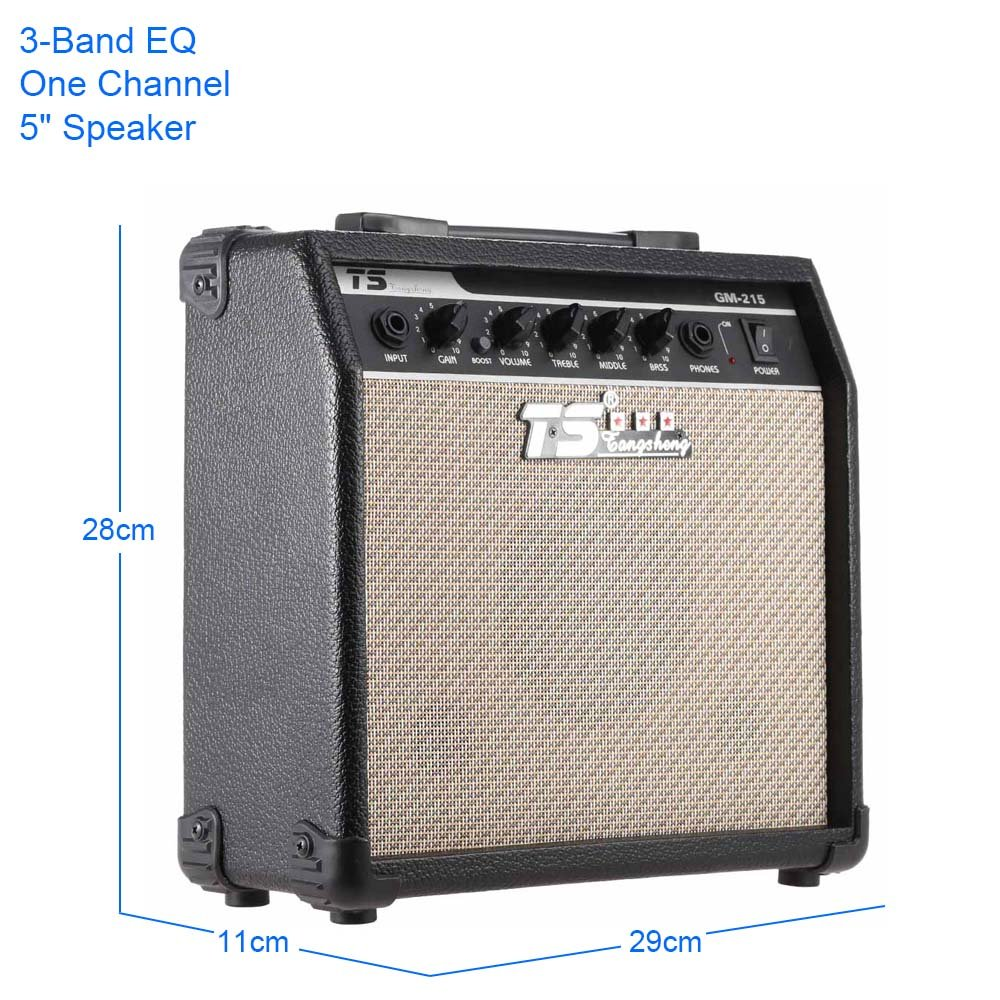 Ammoon Gm 215 Professional 15w Electric Guitar Amplifier 3 Band Equalizer Control Amp Distortion With Eq 5 Speaker Musical Instruments