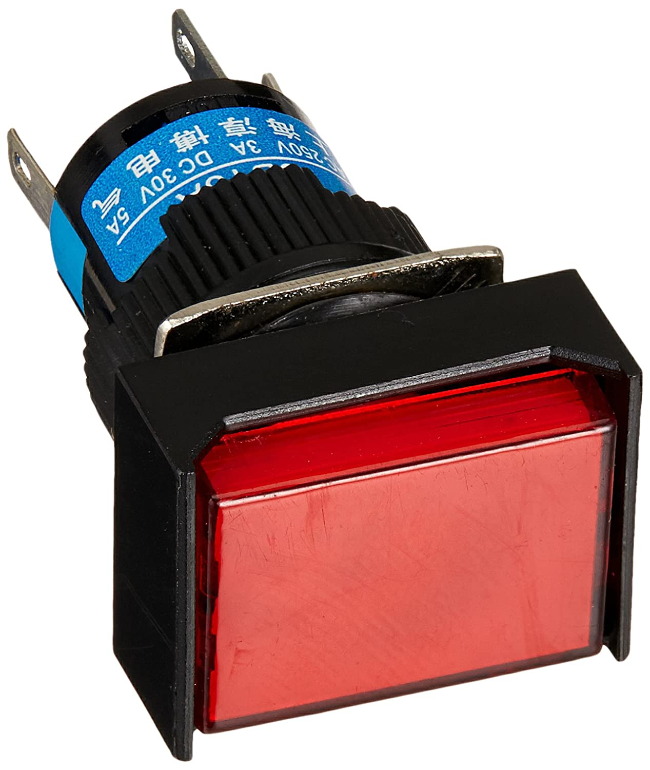 Uxcell DC 24V Light Lamp Latching Pushbutton Switch with 5 Crimp Connectors