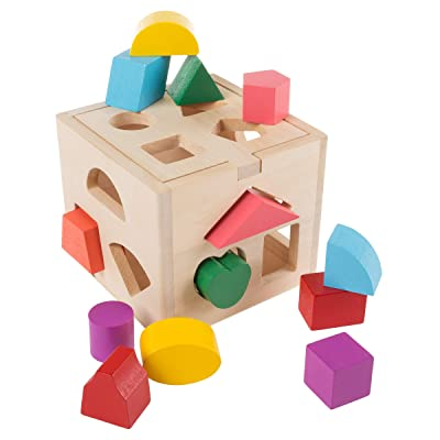 Hey! Play! Wooden Shape Sorter- Classic Toddler Cube Puzzle Toy with Shape Cutouts and 12 Colorful Geometric Blocks-Learning Activity for Toddlers: Toys & Games