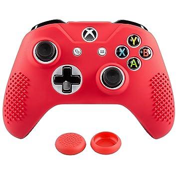 eXtremeRate Funda Silicona Mando Xbox One Carcasa Suave Cubierta Protectora Antideslizante para Mando Controlador de Xbox One S/X con Dos Grips de ...