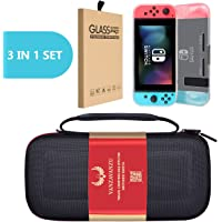 Switch Carrying Case Bag / White TPU Case / Tempered Glass - (3 in 1) Set - for Nintendo Switch Case EVA Hard Handbag Travel Bag Anti-Drop Full Protection - Screen Guard - Carry Bag Case Light Weight (White)