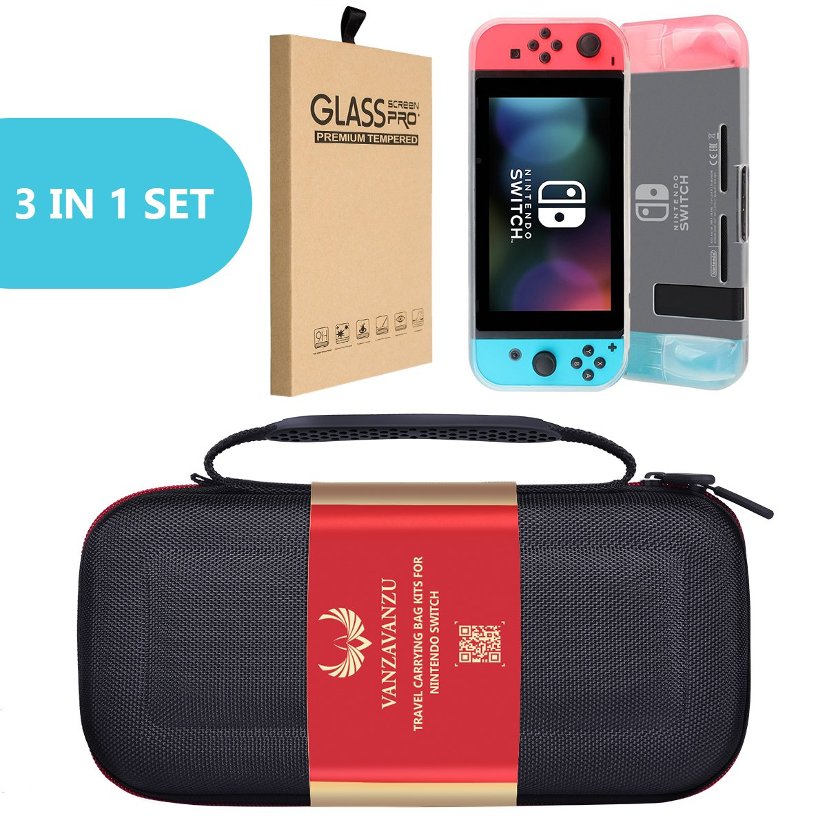 Travel Carrying Bag/TPU White Case/Tempered Glass - (3 in 1) Set - For Nintendo Switch, Hard Shell Case Travelling Anti-drop Carrying All