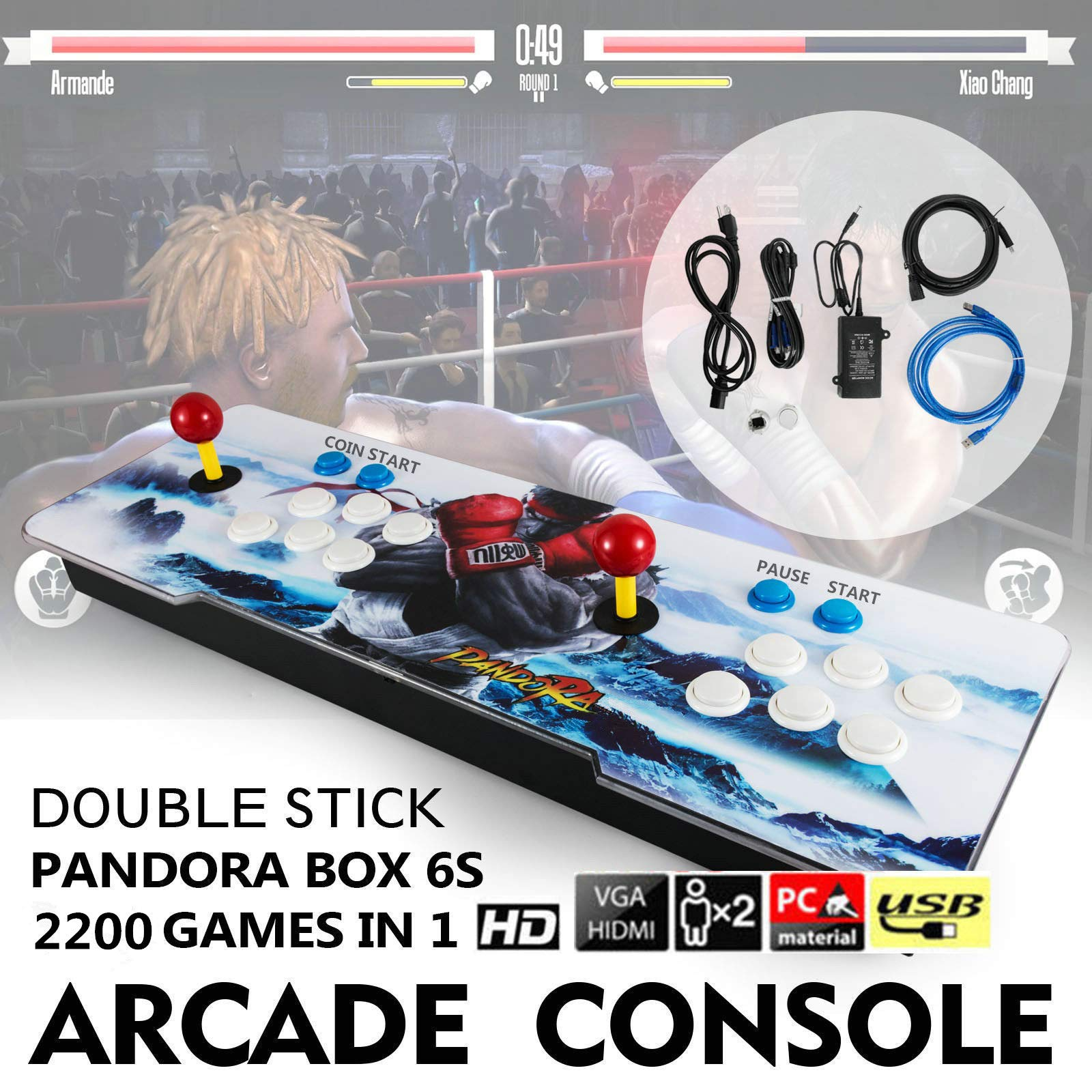 Barbella 2200 HD Arcade Game Console-3D Pandoras Box 6S Arcade Video Game 1080P Game System with 2190 Games Supports 3D Games 1920x1080 Full HD Support TF Card to Expand More Games for PC/TV/PS4 by Barbella (Image #5)