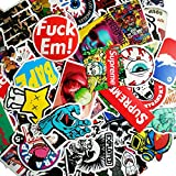 SupplyPro 100PCs Waterproof Graffiti Stickers - Random Style Mix Lot Fashion Unique Stickers for Suitcase Skateboard Snowboarding Helmet Luggage Guitar Car Bike Bicycle Laptops