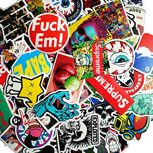 Skateboard Stickers, Random Mix Style Small Stickers with Sun Protection and Waterproof Functions for Skateboard, Suitcase, Snowboarding, Luggage, Water Bottles, Car, Bike, MTB, Laptops(100 Pack) (Assorted Snowboarding Stickers)