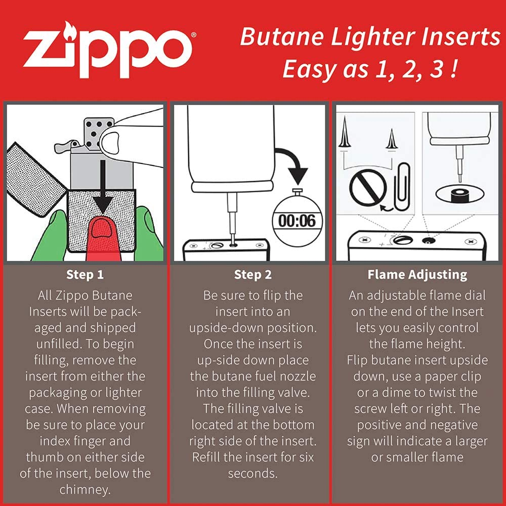 FLAMME SIMPLE Original , Tempete INSERT ZIPPO GAZ BUTANE NEUF