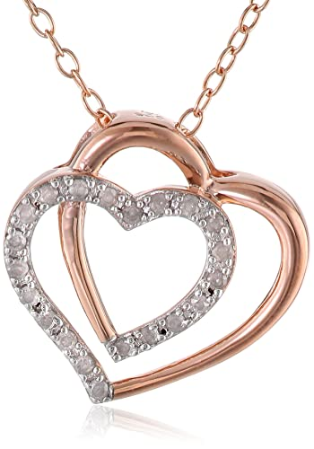 Amazon rose gold flashed silver diamond double heart pendant rose gold flashed silver diamond double heart pendant necklace 1 cttw g h color mozeypictures Image collections