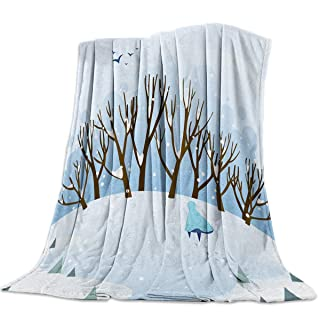 A Child Walking in The Heavy Snow Flannel Throw Blanket Super Soft Warm Snuggle Stadium Blanket for Couch Chair Sofa and Bed Everyday Use 39' x 49'