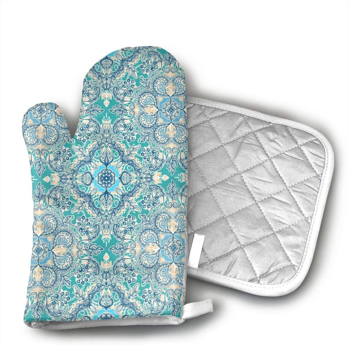 Floral in Teal Cream and Blue Oven Mitts and Pot Holders Set of for Kitchen Set with Cotton Non-Slip Grip