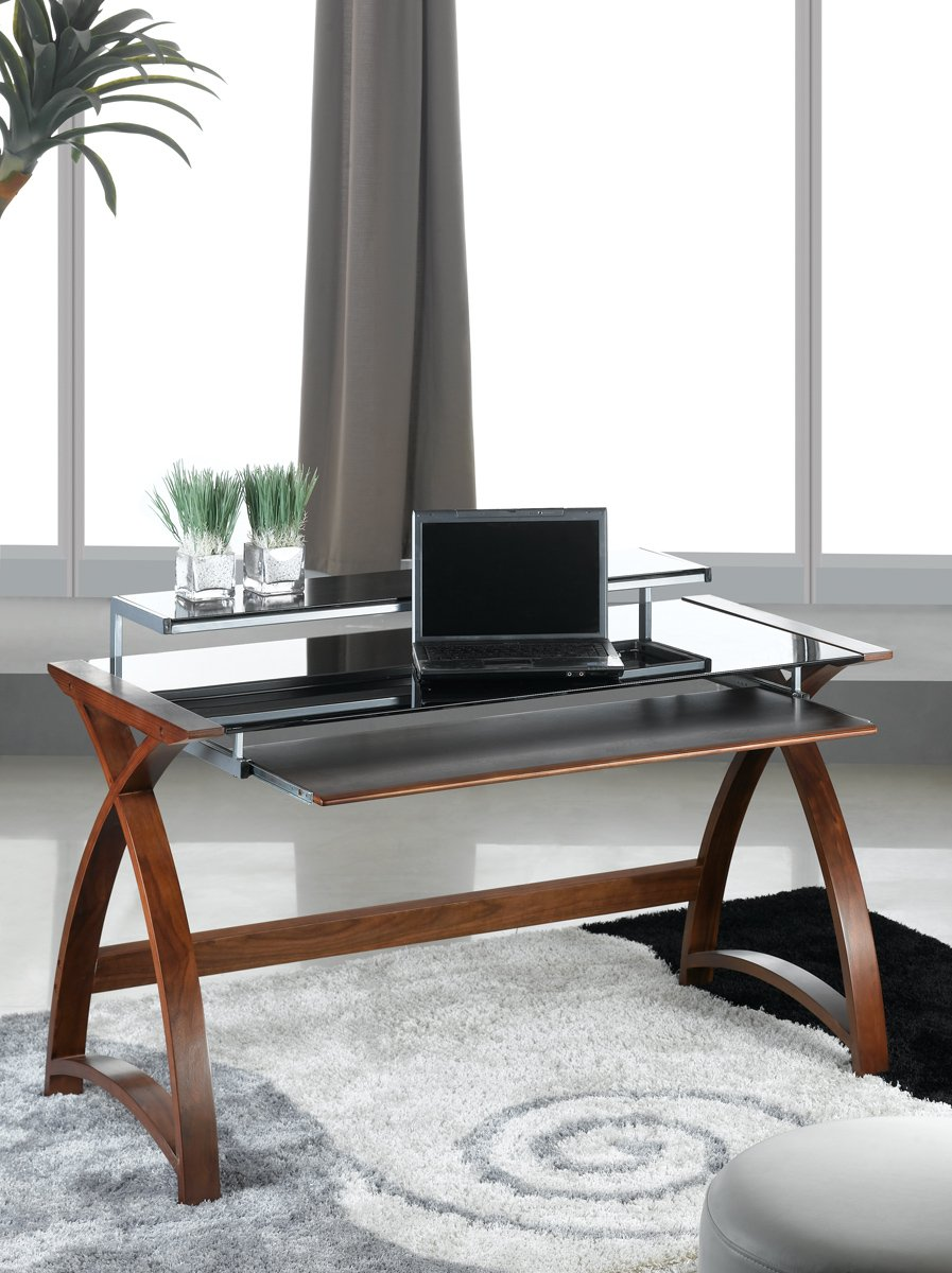 Jual Curve Curved Compact Walnut and Black Desk Amazoncouk