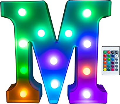 Foaky Colorful LED Letter Lights with Remote, Light Up Letters Sign for Night Light Wedding/Birthday Party Battery Powered Christmas Lamp Home Bar Decoration(M)