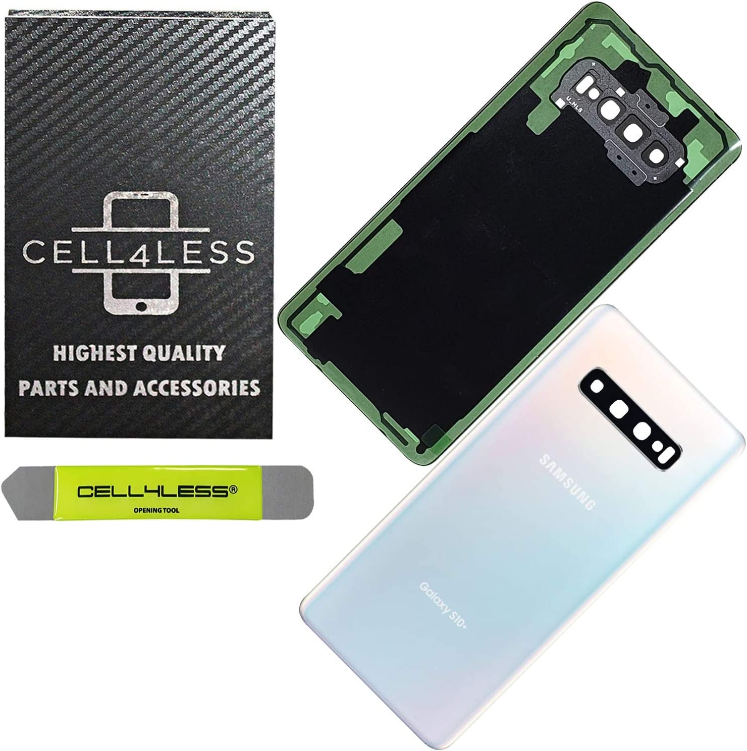 CELL4LESS Back Glass Replacement for The Galaxy S10+ Plus Model SM-G975 Including Camera Frame, Lens, Removal Tool (Prism White)