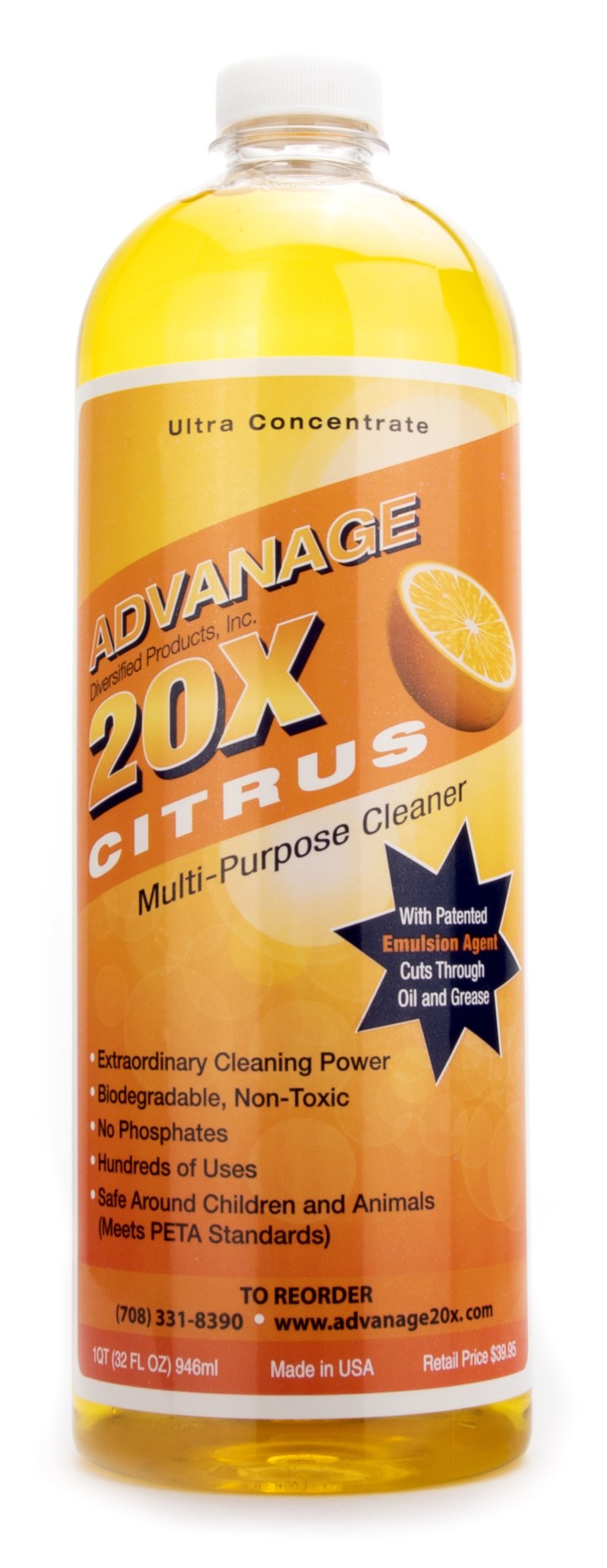 ADVANAGE the Wonder Cleaner 20X Multi-Purpose   Ultra Concentrated Formula, Makes 20 Quarts   Eco Friendly   Child and Pet Safe   Non Toxic & Biodegradable   Citrus Scented   32 fl oz Bottle