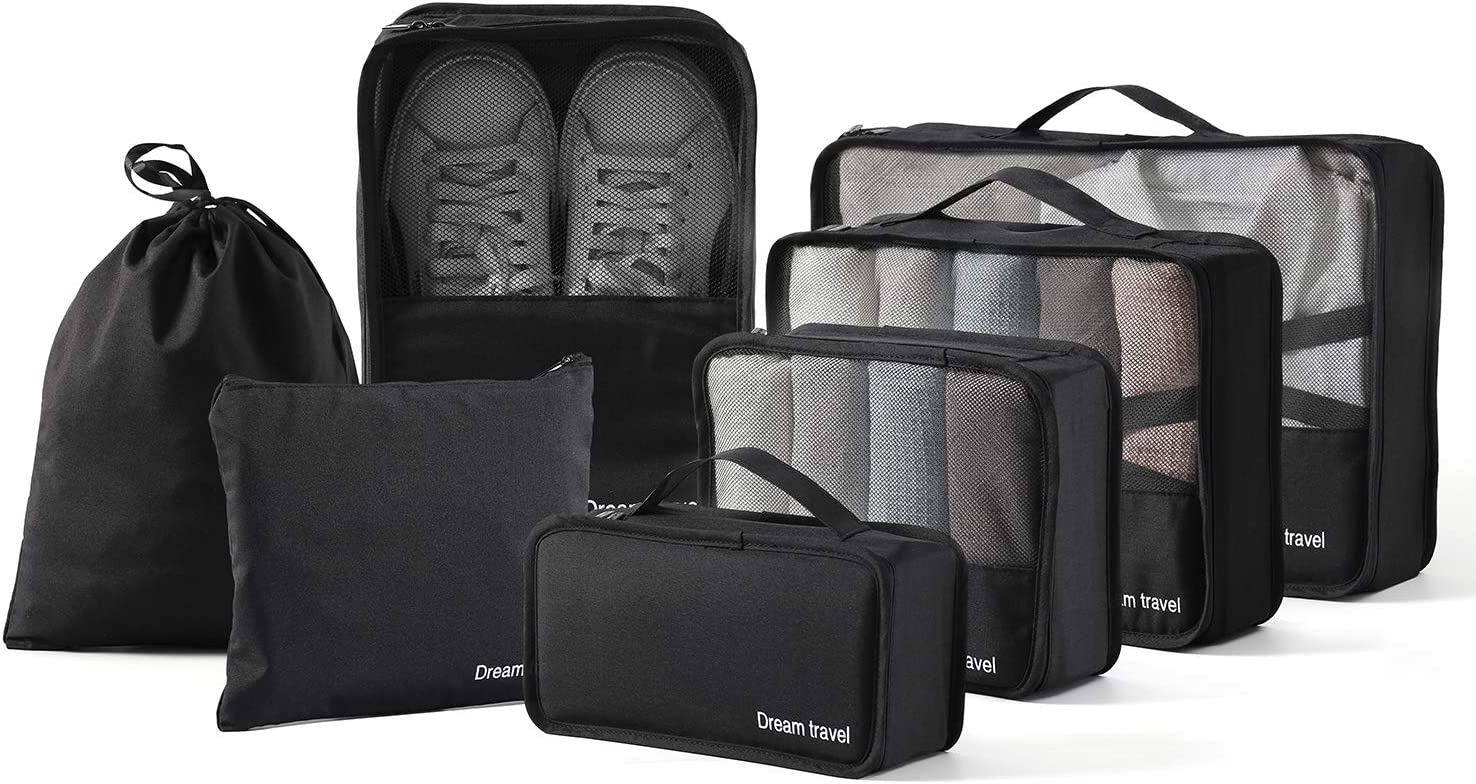BIMNOOT Packing Cubes 7-Pcs Travel Luggage Packing Organizers Set with Laundry Bag & Shoe Bag (Black)