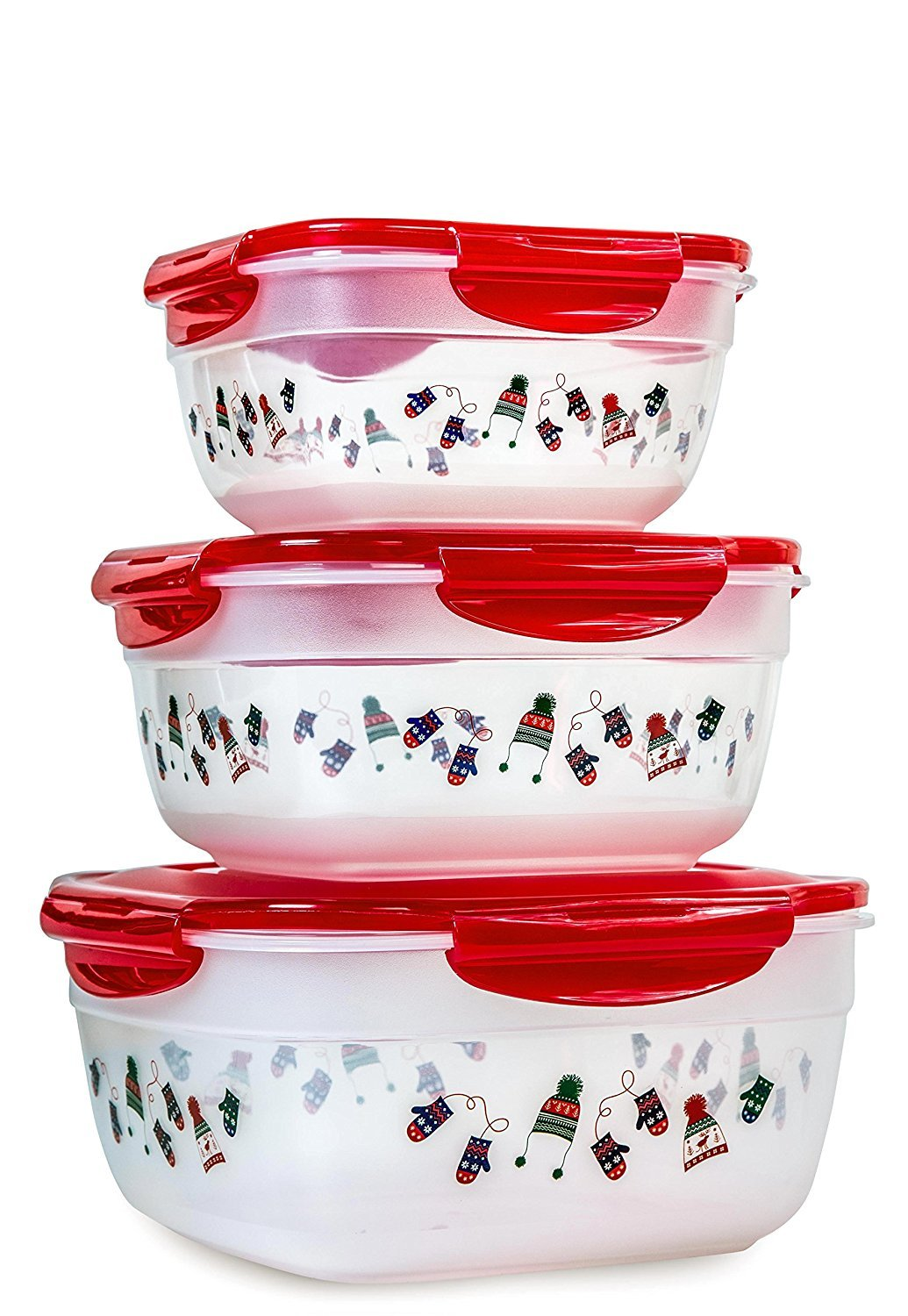 Lock & Lock 6pcs Set Square Plastic Food Storage Container Red Mitten Pattern with Nesting Design and Airtight Anti-Spill Proof Technology