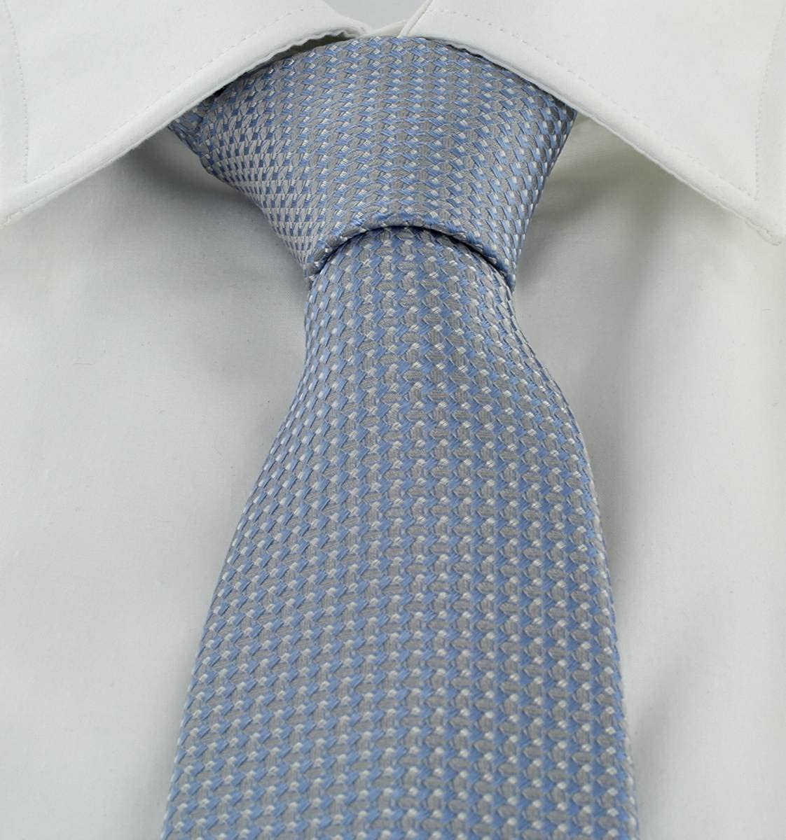 Michelsons of London Mens Textured Geo Silk Tie and Pocket Square Set Light Blue